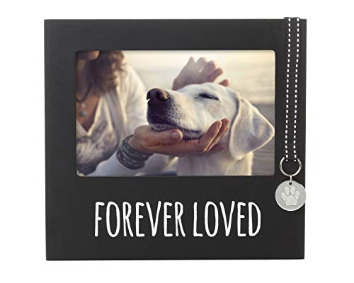 Pearhead Pet Forever Loved Collar Tag Memorial Keepsake Picture Frame, Black