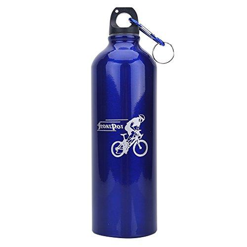 VIFER Bicicleta Metal Botella de Agua Deportes al Aire Libre Frasco 750ml Aleación de Aluminio Ciclismo Hervidor Acampar Hervidor de Agua(Azul)