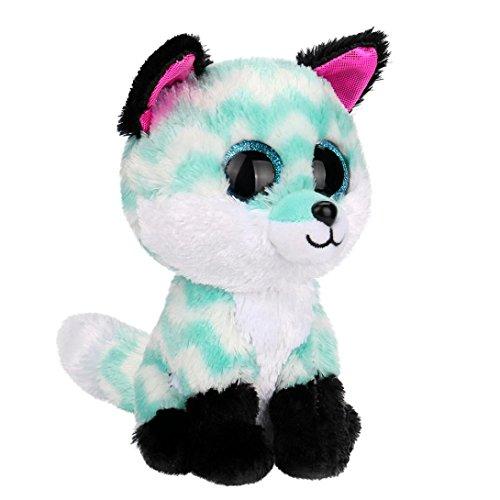 Hongxin Ty Beanie Boos Dotty Multicolor Leopard Big Eyes Beanie Baby Plush Stuffed Doll Toy Collectible Soft Big Eyes Toys Kids Creative Birthday Gift (Green Fox)