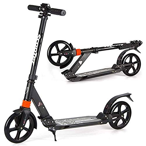 Review Folding Adult Pedal Scooter with Large Wheels, Double Suspension Luxury Commuter Scooter Glid...