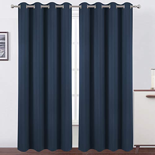 LEMOMO Navy Blue Blackout Curtains 52 x 84 inch/Set of 2 Curtain Panels Room Darkening Bedroom Curtains