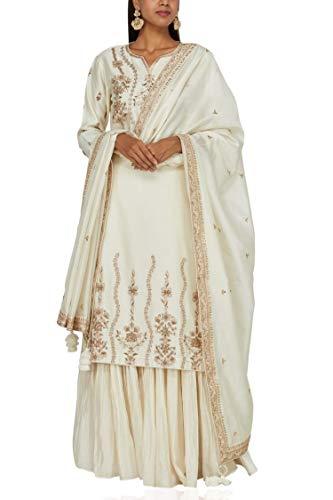 ETHNIC EMPORIUM Damen Creme Ethnischer Punjabi Handmade Erhält Patti Lange Kurti Palazzo Anzug Bespoke Stitching Formal Salwar Indian Muslim XS- 34 Nicht-gerade weiss