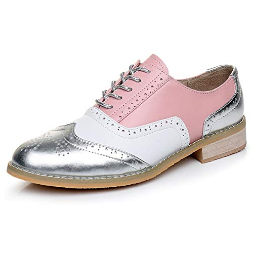 LaRosa Women's Handmade Assorted Colors Carved Wingtip Lace-up Leather Brogues Flat Oxford Shoes,Pink White-Silver,6.5 B(M)