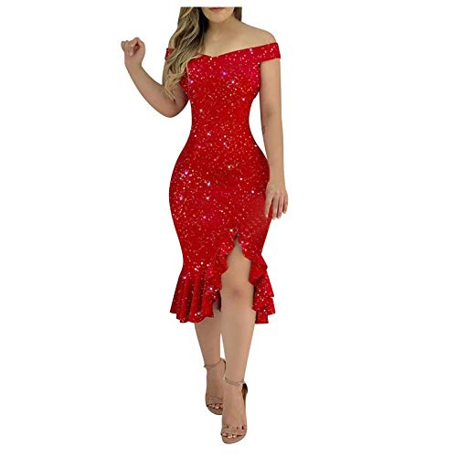 GCETTIC Dresses for Women,Women's Vneck Shining Bodycon Mini Dress Cold Shoulder Ruffle Cocktail Dress Party Nightclub Dress Red