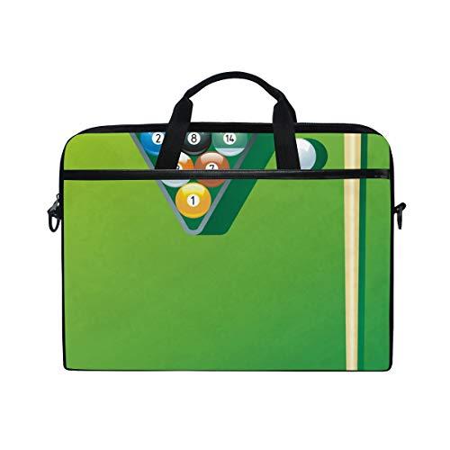 LIUBT Sport-Billard-Dreieck-Laptoptasche, Kuriertasche, Computer-Aktentasche, Business-Notebook-Hülle, Tragegriff, Tasche für 35,6 cm bis 39,1 cm