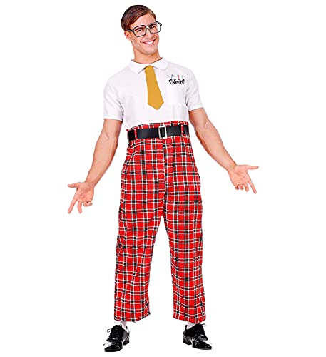 Widmann-7885 Disfraz Nerd (mono, cinturn, corbata, gafas), color rojo/blanco, xxx-large (7885)