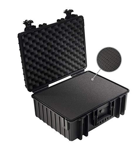 B&W Transportkoffer Outdoor Typ 6000 schwarz mit Würfelschaum - wasserdicht nach IP67 Zertifizierung, staubdicht, bruchsicher und unverwüstlich