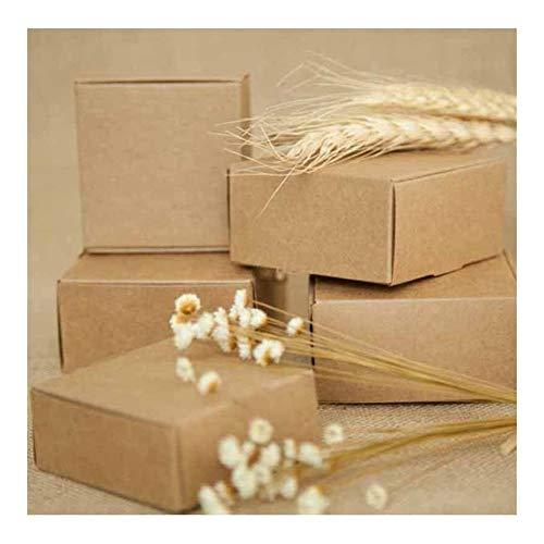 Caja de bricolaje de papel Kraft la caja de regalo for la boda favores de la fiesta de cumpleaños del caramelo Galletas caja de regalo Presents ( Color : Brown , Gift Box Size : 6.5X6.5X3.0CM )