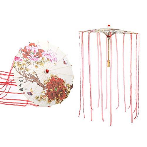 LAJS Parapluie en Papier huilé, Art Vintage décoratif Fait à la Main Accessoire de Danse Parapluie de Style Chinois avec Ruban pour la Danse(Ruban Rouge)