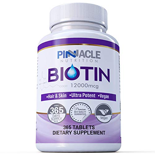 Biotin 12000mcg | 365 Tablets | One Year Supply | Hair Growth Supplement for Beauty Treatment for Men & Women | Vitamin for Regrowth | Not Capsules or Softgels | UK Manufactured