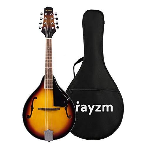 Rayzm Mandolino bluegrass tradizionale di colore sunburst con borsa imbottita per il trasporto, Mandolino Acustico Stile A, 8 corde, corpo in tiglio, tastiera in noce, collo in mogano