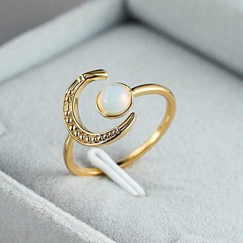 Anillo decorativo abierto para mujer, ajustable, elegante, sol, luna, piedra de luna, circonita, unisex, joyería dorada para bodas, bailes, cumpleaños, aniversario, anillo de promesa