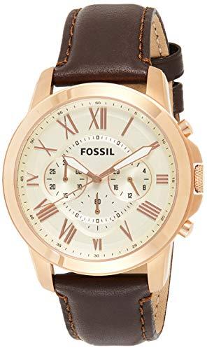 Fossil Herren Chronograph Quarz Uhr mit Leder Armband FS4991