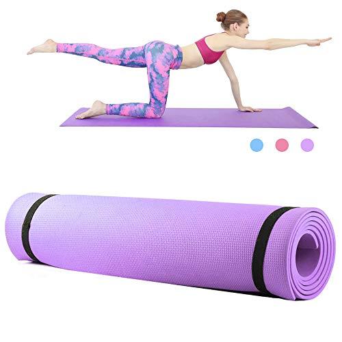 Roeam Yogamatte,Fitness Sportmatte, Yogamatte rutschfest,Yoga Matte,Household Gym Training Pad für Frauen Männer,173 * 61 * 0.6 cm, Lila