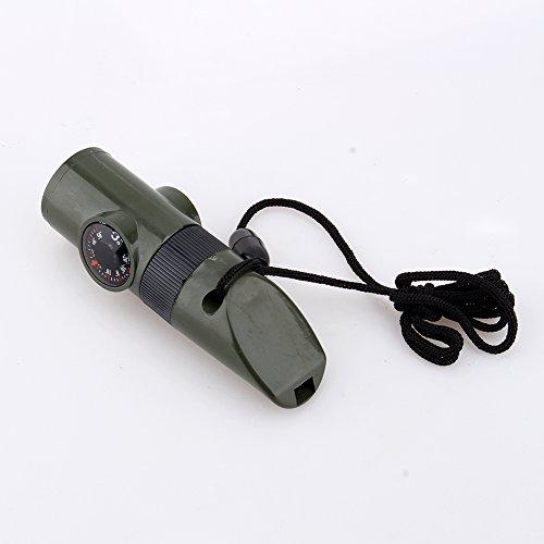 VGEBY1 7 en 1 Camping Survival Whistle, Silbato de Supervivencia de Emergencia Herramienta multifunción, Silbato, brújula, termómetro, Linterna LED, Lupa, Espejo de señal y contenedor pequeño
