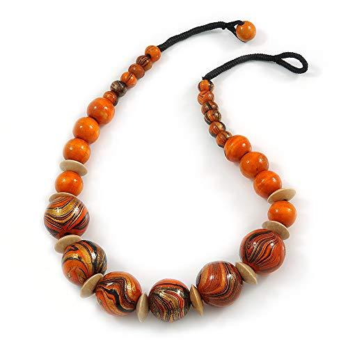 Avalaya Chunky Colour Fusion Wood Bead Necklace (Orange, Gold, Black) - 48cm Long