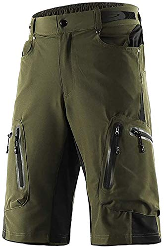 Cycling Shorts, Outdoor Sports Pants,Baggy No Padded Mountain Bike Shorts,Breathable Quick Dry Biking Pants,for Mountain Bike Downhill Sports (Green,M)