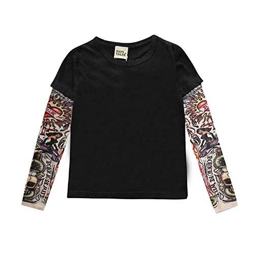 `Star Empty Ropa de bebé Muchacho Ropa de algodón Camiseta de Manga Larga Camisetas Camisetas Novedad Manga de Tatuaje bebé niños Tops Primavera y otoño niños Ropa Fresco (Color : 11, Kid Size : 6)