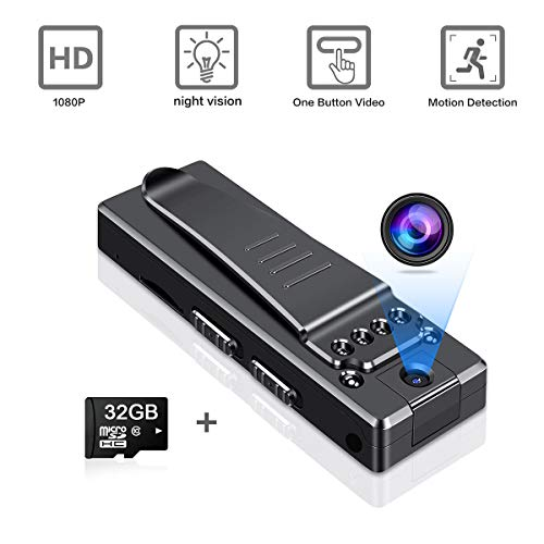 Mini Body Camera HD 1080P Wireless Portable,Small Home Nanny Cam with Motion Detection and Night Vision,with Clip,Wearable Video Recorder,Indoor/Outdoor Micro Security Surveillance (with 32G Card)