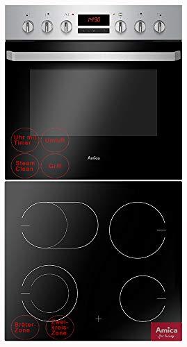 Amica Einbauherd Set Backofen mit Grill und Umluft, rahmenloses Glaskeramik Kochfeld mit Zweikreis und Bräterzone, Timer