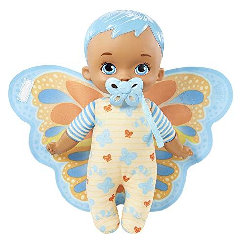 My Garden Baby Envuelve y acurruca Azul Muñeco de Juguete con Manta Mariposa y Chupete, Regalo para niñas y niños +18 Meses (Mattel HBH38)