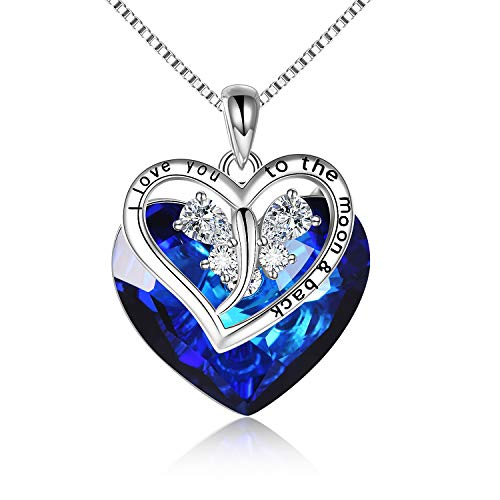 LUHE Butterfly Necklace 925 Sterling Silver Butterfly Pendant Necklace with Blue Swarovski Crystal Elements Jewelry Gift for Wife Girlfriend (Blue Crystal Necklace)