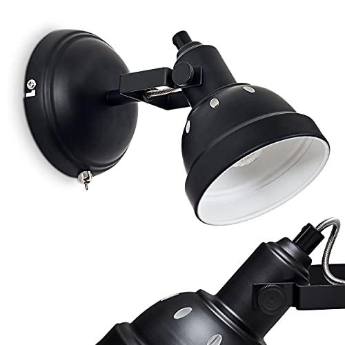 Lámpara de pared de metal moderna en color negro y blanco con foco ajustable, lámpara de estilo retro vintage con efecto de luz en la pared, 1 foco, 1 bombilla E14 máx. 40 W, apta para LED