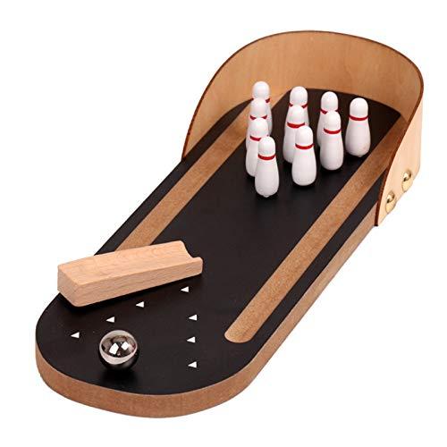 Mini Bowling-Spiel, Holz Mini Tisch Bowling Spiel Mini Tisch Bowling Spielzeug Indoor Mini Bowling Ball Spielzeug Klassische Schreibtisch Ball pädagogisches Spielzeug für Kinder und Erwachsene