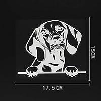 カーステッカー 17.5CMX15CMおかしいショートヘアード・ハンガリアン・ビズラ犬チラッと覗くデカールビニール車ステッカーブラック/シルバー カーステッカー (Color Name : Silver)