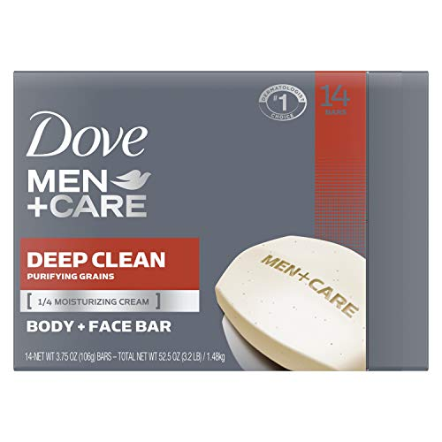 Dove Men+Care Men's Bar Soap More Moisturizing Than Bar Soap Deep Clean Effectively Washes Away Bacteria, Nourishes Your Skin 3.75 oz 14 Bars