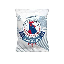 NEW, DOUBLE COOKED, LOWER IN FAT, SAME GREAT TASTE. This is the first chicken crackling to hit the UK. Try our new tasty healthier alternative to pork scratchings or crackling. Compared to a pork scratching our chicken crackling is high in protein an...
