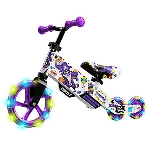 Small Rider Turbo, Laufrad, beleuchtetes PU-Rad, Verstellbarer Sitz und Lenker, tolles Geburtstagsgeschenk, Für Babys ab 2 Jahren (Violett)