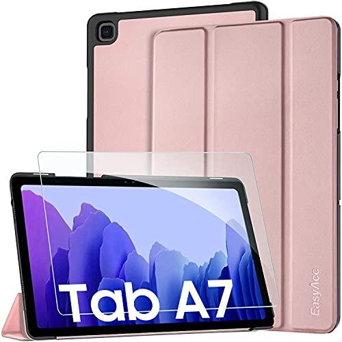 EasyAcc Funda y Protector de Pantalla Compatible con Samsung Galaxy Tab A7 10.4 2020, Case Ultra Slim Carcasa Smart Cover PU Alta Definicion Cristal Vidrio Premium para SM-T500/SM-T505 (Pink)
