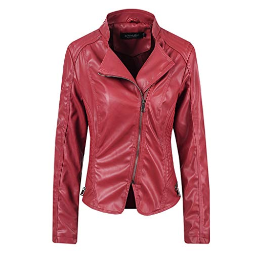 Voicry Damen Revers Zip Lederjacke Parka Mantel Mantel Biker Outwear Mantel (Wein,S)