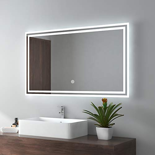 EMKE LED Miroir de Salle de Bain 100x60cm Miroir de Salle de Bain avec éclairage Blanc Froid Miroir Lumineux Miroir Mural avec Interrupteur Tactile IP44 économie d'énergie