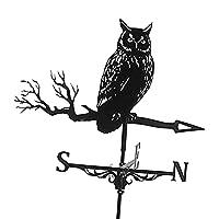 鉄黒フクロウ形風見鶏古典的な防錆風見鶏屋外シーン装飾飾り