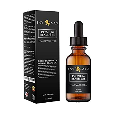 Beard Oil & Leave In Conditioner, 100% Pure Natural for Groomed Beards, Mustaches, and Moisturized Skin 1 oz Fragrance Free by ENYMAN