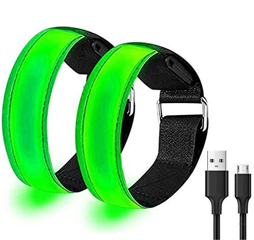 Yomiro 2 Pack Reflective Running Gear, Running Armband, Running Light for Runners, Slap Bracelet Running Belt, Reflective Tape Night Running Accessories (Armband, Green)