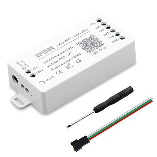 ALITOVE WS2812B WS2811 WS2801 LED WiFi, aplicación iOS Android Control remoto inalámbrico DC 5 V ~ 24 V SP108E para SK6812 SK6812-RGBW WS2812 WS2813 WS2815 AL2815 Tira de...