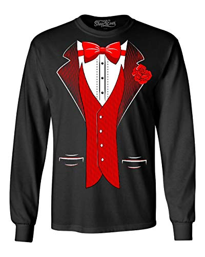shop4ever Classic Tuxedo with Red Rose Long Sleeve Shirt Party Costume Shirt Large Black 0
