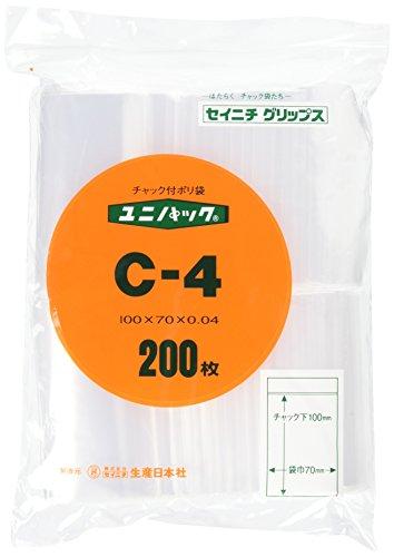 日本生産社 ユニパック チャック付ポリ袋 200枚入 C-4 [2031]