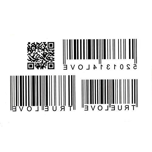 EROSPA® Tattoo-Bogen / Sticker temporär - Love / Barcode / QR-Code - 10,5 x 6 cm