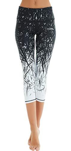 COOLOMG Damen Sport Leggings Yoga Hosen-Fitnesshose, B-schwarz- weiß (Capri), Gr.-S