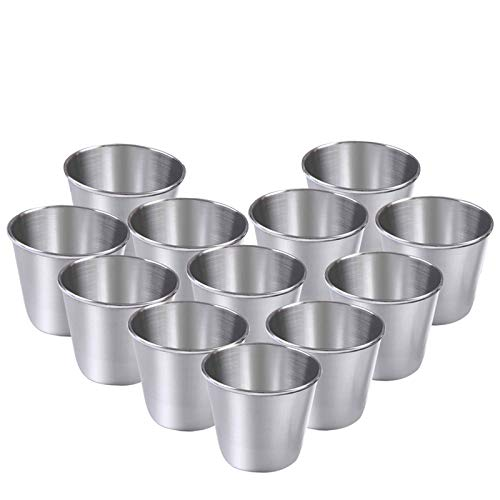 ManYee Stainless Steel Shot Cups 12 Pieces High-End Stainless Steel Shot Glasses for Whiskey Tequila Liquor Party 15 Ounce 45 ml