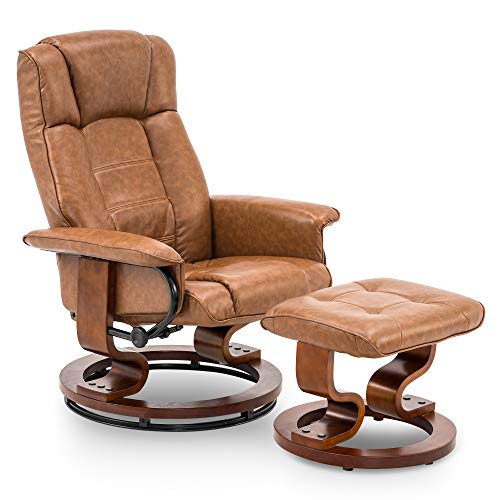 Mcombo Swiveling Recliner Chair with Wrapped Wood Base and Matching Ottoman Footrest, Furniture Casual Chair, Faux Leather 9019 (Saddle)