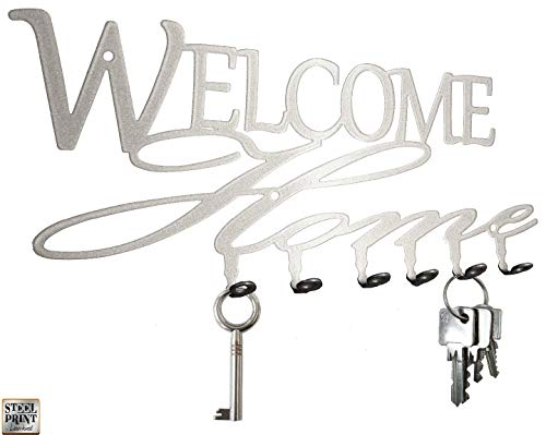Schlüsselbrett / Hakenleiste * Welcome Home * - Schlüsselboard, Schlüsselleiste, Metall - 6 Haken (silber)