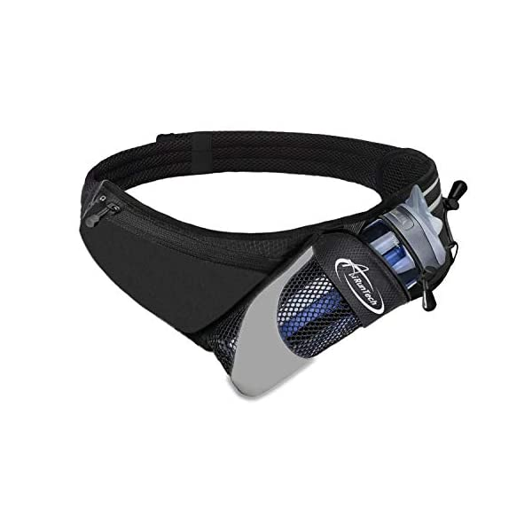AiRunTech Upgraded No Bounce Hydration Belt Can be Cut to Size Design Strap for Any Hips for Men Women Running Belt with Water Bottle Holder with Large Pocket Fits Most Smartphones (Black)