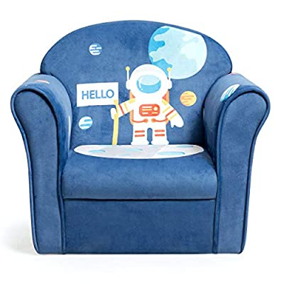 Costzon Kids Sofa, Children Armrest Chair with Pattern, Toddler Furniture w/Sturdy Wood Construction for Boys & Girls, Armrest Couch for Preschool Children, Lightweight Children Sofa Chair (Spaceman)