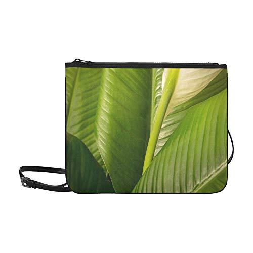 WYYWCY Bananenblatt-Hintergrundbeleuchtung mit Sonnenlichtmuster Benutzerdefinierte hochwertige Nylon-dünne Clutch-Tasche Umhängetasche mit Umhängetasche