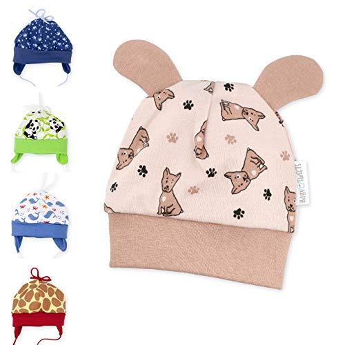 Baby Sweets Unisex Baby Mütze für Mädchen und Jungen in Braun Beige als Erstlingsmütze im Hunde-Motiv/Babymütze für Neugeborene & Kleinkinder zum Binden in der Größe: 6-9 Monate (74)